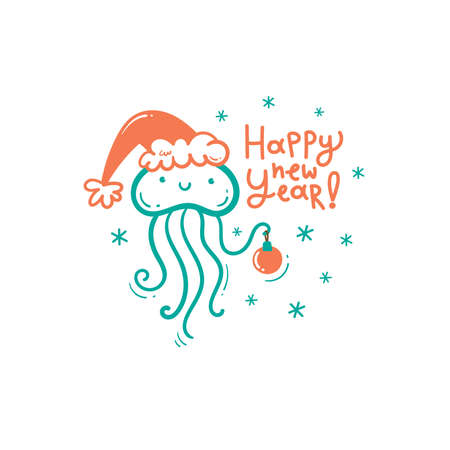 New Year card with cute cartoon jellyfish in hat. Merry Christmas and Happy Holidays poster. Vector doodle print.