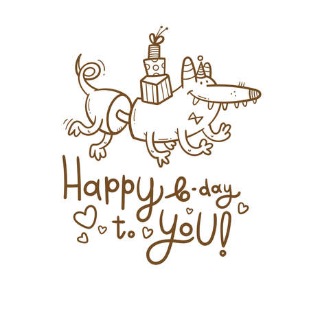 Birthday card with cute cartoon monster. Creature in party hats. Vector doodle poster. Little funny animal print.