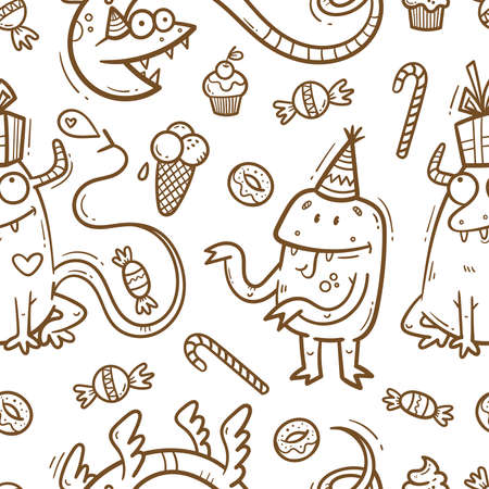 Birthday seamless pattern with cute monsters on white background. Wallpaper with variety of sweets. Doodle cartoon dragon print. Line art poster.