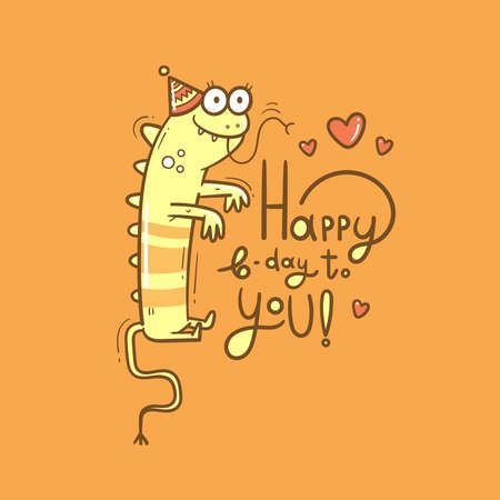 Birthday card with cute cartoon monster. Dragon in party hats. Vector doodle poster. Funny animal print. 矢量图像