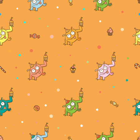 Birthday seamless pattern with cute monsters on orange background. Colorful wallpaper. Doodle cartoon print. Line art poster.