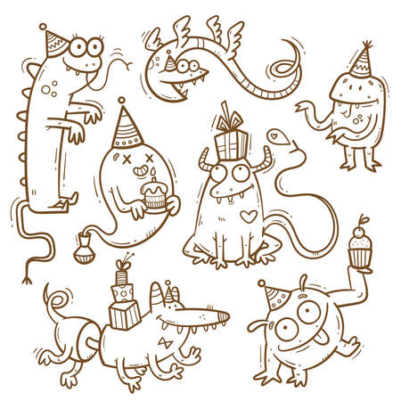 Birthday set with cute cartoon monsters in party hats. Vector doodle collection. Little funny animal print. Сake and gift poster.