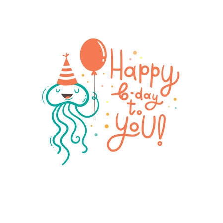 Birthday card with cute cartoon jellyfish. Underwater animal in party hats. Vector doodle poster. Little funny character print.