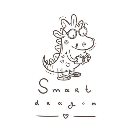 Card with cute cartoon smart dragon. Funny crocodile print. Reading reptile poster. Vector doodle line art. Illustration for children. Books and studying.