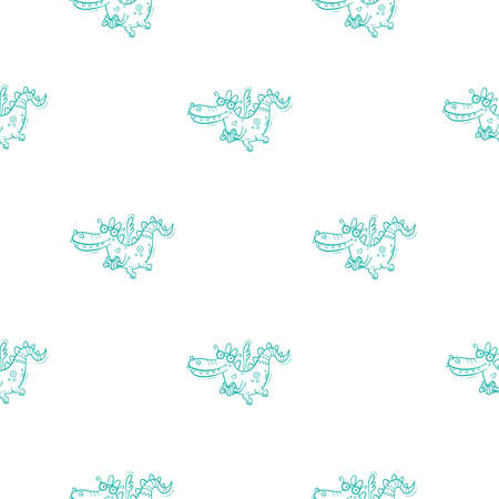 Seamless pattern with cute cartoon smart dragon. Funny crocodile print. Reading reptile poster. Vector doodle line art wallpaper. Illustration for children. Books and studying.