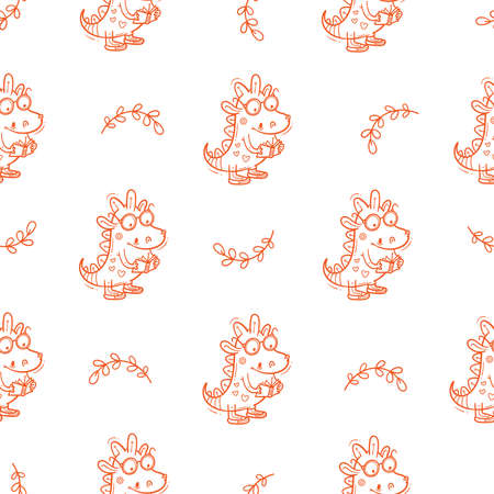 Seamless pattern with cute cartoon smart dragon on white background. Funny crocodile print. Reading reptile poster. Vector doodle line art wallpaper. Illustration for children. Books and studying.