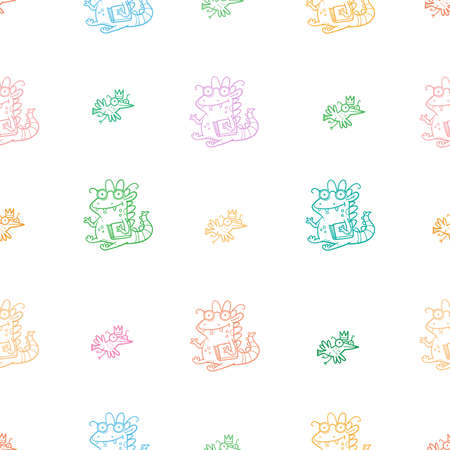 Seamless pattern with cute cartoon smart dragon on white background. Funny birds print. Reading reptile poster. Vector doodle line art wallpaper. Illustration for children. Books and studying.