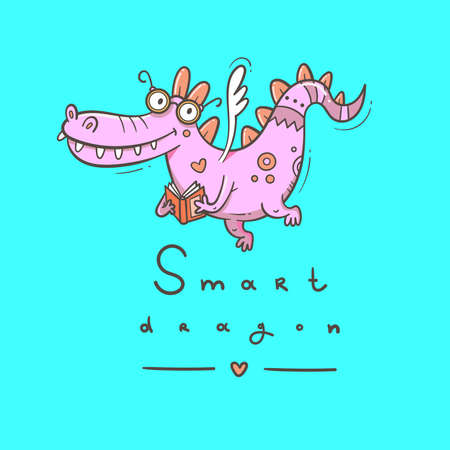 Card with a cute smart dragon. Funny crocodile print. Reading reptile poster. Vector doodle line art. Illustration for children. Books and studying.