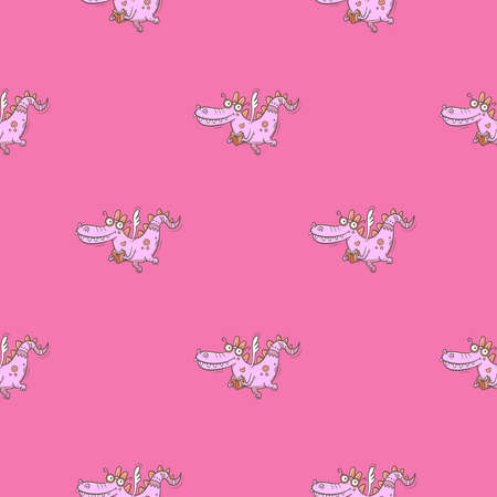 Seamless pattern with cute cartoon smart dragon on pink background. Funny crocodile print. Reading reptile poster. Vector doodle line art wallpaper. Illustration for children. Books and studying.