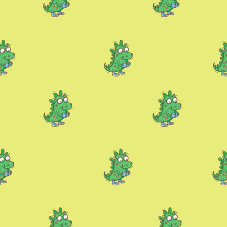 Seamless pattern with cute cartoon smart dragon on green background. Funny crocodile print. Reading reptile poster. Vector doodle line art wallpaper. Illustration for children. Books and studying. 矢量图像