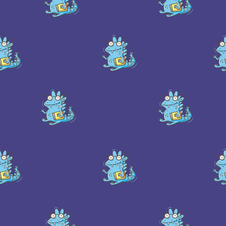 Seamless pattern with cute cartoon smart dragon on purple background. Funny birds print. Reading reptile poster. Vector doodle line art wallpaper. Illustration for children. Books and studying.