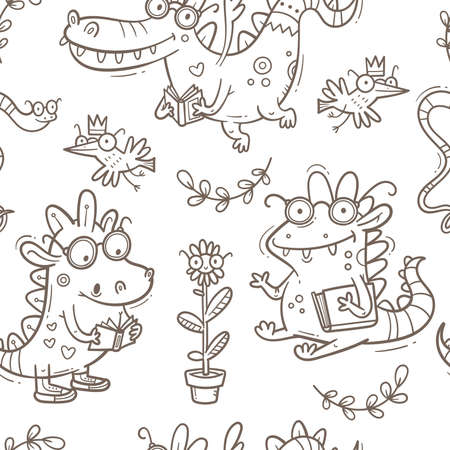Seamless pattern with cute smart dragons on white background. Funny crocodiles wallpaper. Reading reptile poster. Vector doodle line art. Illustration for children. Books and studying print.