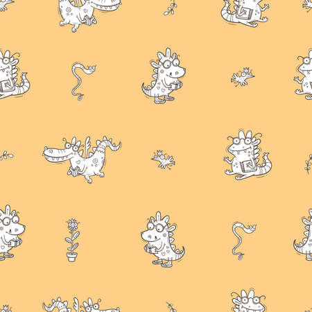 Seamless pattern with cute smart dragons on green background. Funny crocodiles wallpaper. Reading reptile poster. Vector doodle line art. Illustration for children. Books and studying print.