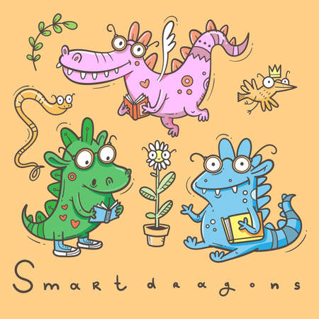 Set with cute smart dragon. Funny crocodile collection. Reading reptile poster. Vector doodle line art. Illustration for children. Books and studying sticker pack. 矢量图像