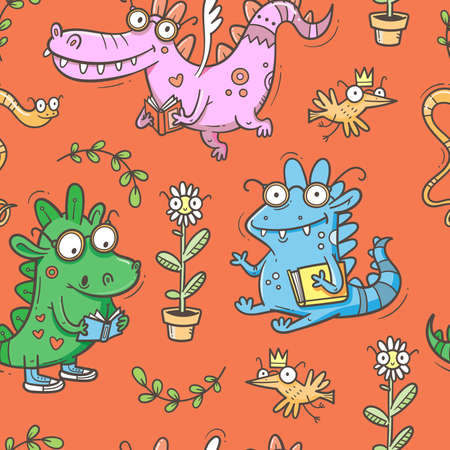 Seamless pattern with cute smart dragons on red background. Funny crocodiles wallpaper. Reading reptile poster. Vector doodle line art. Illustration for children. Books and studying print.