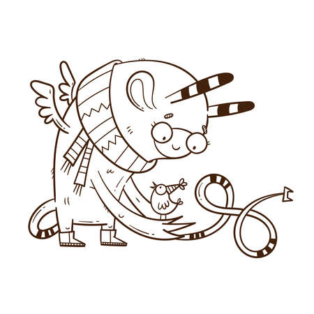 Card with cute cartoon monster and bird. Funny fairy animal print. Line art doodle creature poster. Illustration for children.