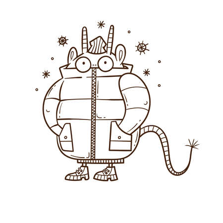 Winter card with cute cartoon monster in a jacket. Funny doodle animal print. Snowfall poster. Illustration for children.