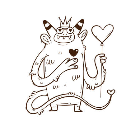 Valentine's day card with cute cartoon monster and balloon. Greeting print with doodle funny animal. Line art poster for children 矢量图像
