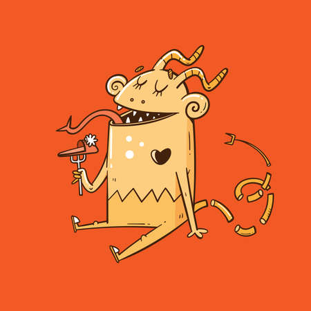 Card with cute cartoon monster. Funny fairy animal print. Line art doodle creature poster. Illustration for children.