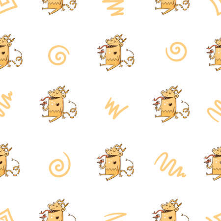 Seamless pattern with cute cartoon monsters on white background. Fabulous wallpapers with creatures. Funny animal print. Line art doodle poster. 矢量图像