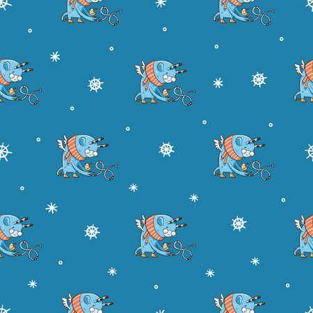 Seamless pattern with cute cartoon monsters and birds on blue background. Fabulous winter wallpapers with creatures. Funny animal print. Line art doodle poster.