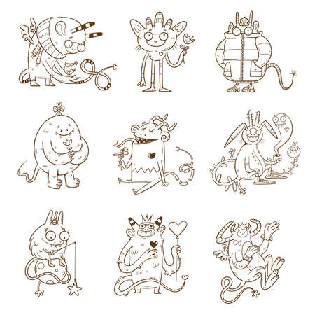 Set with cute cartoon monsters. Fabulous collection of creatures. Funny animal sticker pack. Line art doodle poster.