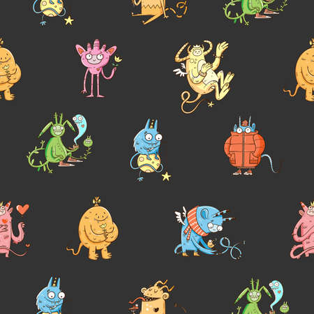 Seamless pattern with cute cartoon monsters on dark background. Fabulous wallpapers with creatures. Funny animal print. Line art doodle poster.