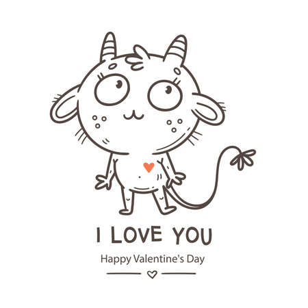 Valentine's day card with cute cartoon imp. Greeting print with doodle funny animal. Line art poster for children. Vector holiday illustration.