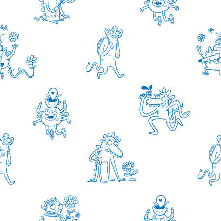 Seamless pattern with cute monsters and plants on white background. Flowers and funny animals poster. Line art childish illustration. Doodle cartoon wallpaper.