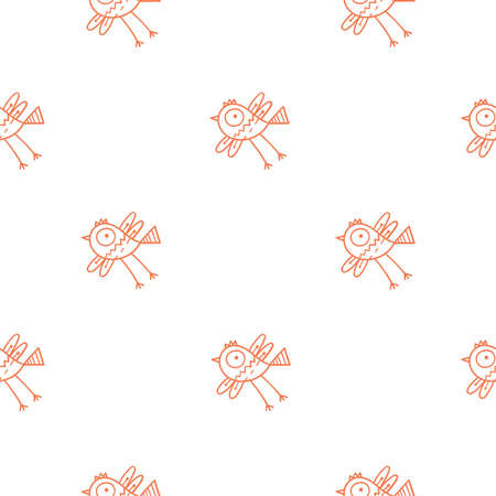 Seamless pattern with cute cartoon birds on white background. Funny doodle chicks wallpaper. Line art animals print.