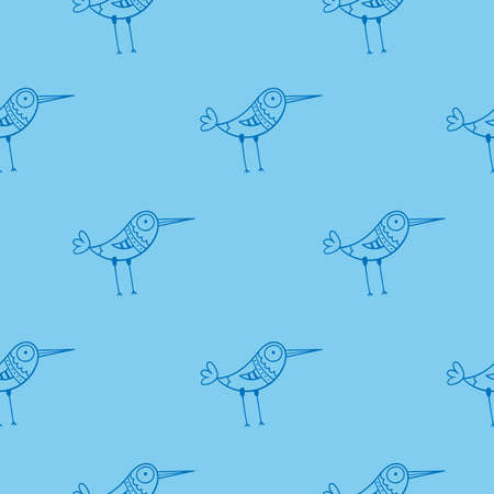 Seamless pattern with cute cartoon birds on blue background. Funny doodle chicks wallpaper. Line art animals print.