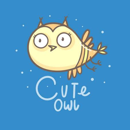 Cute doodle owl emblem. Funny vector character. Line art animal print. Cartoon bird poster.