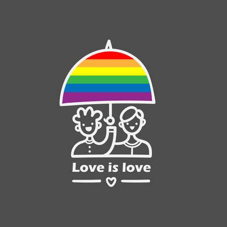 Lgbt doodle emblem. Homosexual cartoon lovers print. Call for tolerance poster. Vektorové ilustrace