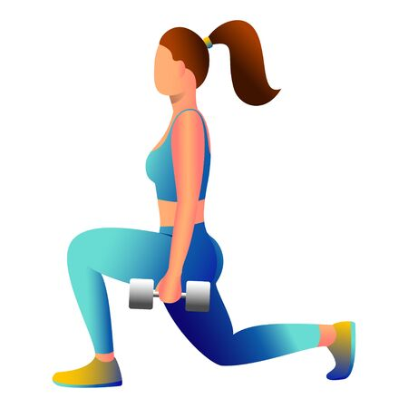 Home fitness concept. Illustration in a flat style of a girl doing sports.Woman goes in for sports with dumbbells.