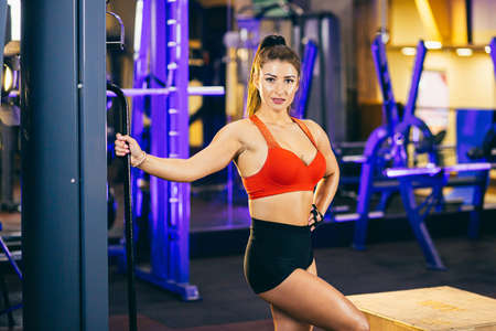 Athletic girl working out in gym. Sexy fitness woman doing exercise, flat belly Standard-Bild