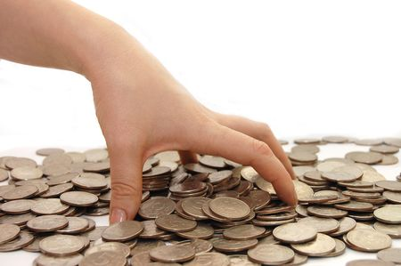 The female hand takes coins photo
