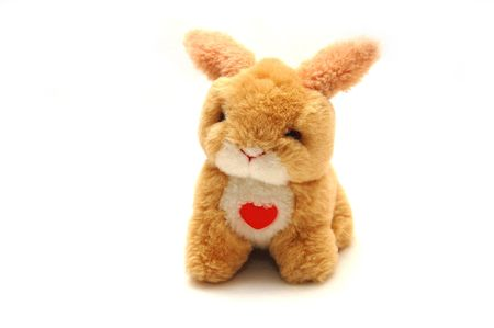 Toy a rabbit with heart in front photo