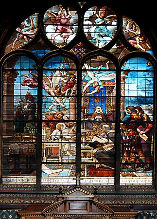 crucifiction: Stained-glass window in church