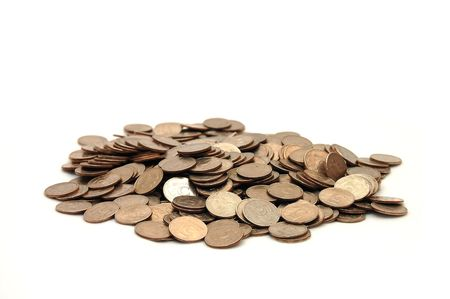Small group of the scattered coins Stock Photo