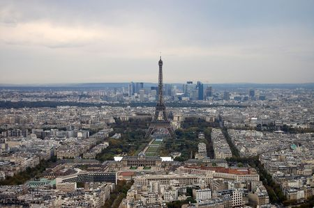 France, Paris: nice aerial city view on Eiffel Tower from montparnasse photo