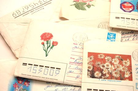 philately: Close up of old letters