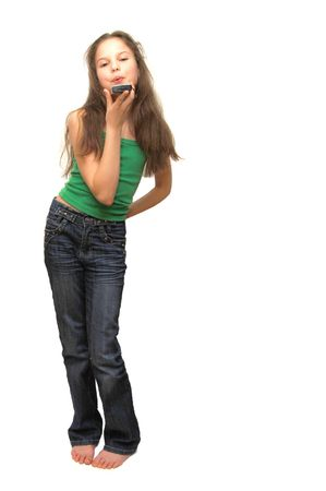 young woman holding cell phone  photo
