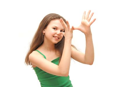 mimicry: The girl the teenager does a mimicry Stock Photo