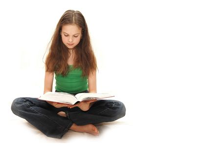 The young girl the teenager reads books Stock Photo - 4851925