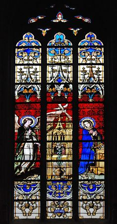 crucifiction: Stained-glass window in church of Luxembourg