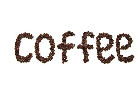 Coffee word written grain of coffee photo