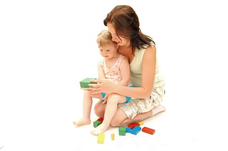 played: Mother with a daughter is played by cubes