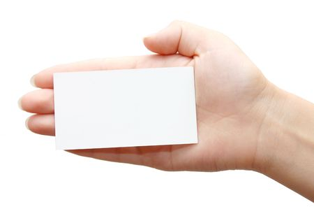 Paper card in woman hand isolated on white background Stock Photo - 5072262