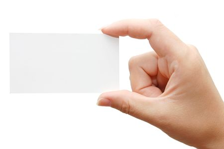 Paper card in woman hand isolated on white background Stock Photo - 5072261