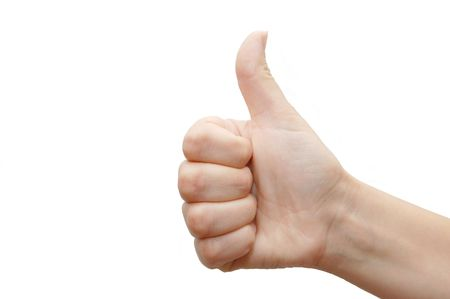 Thumbs Up Success Hand Sign over white Stock Photo - 5096946